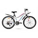 """Подростковый велосипед Nameless 24"""" S4100W, белый/розовый, 13"""""""