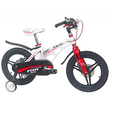 """Детский велосипед BIBITU 16"""" PONY D, белый/красный"""
