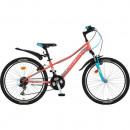 """Велосипед NOVATRACK 24"""" VALIANT, сталь.рама 10"""", коралловый,"""