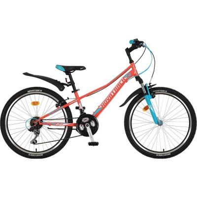 """Подростковый велосипед NOVATRACK 24"""" VALIANT, сталь.рама 10"""", коралловый,"""