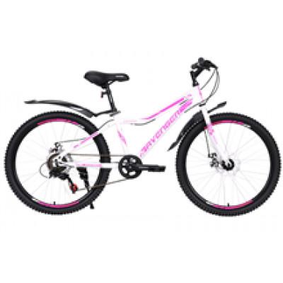 """Подростковый велосипед AVENGER 24"""" C240DW, белый/фиолетовый, 13"""""""